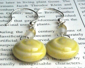 Casual Yellow Earrings, Bright Jewely, Artisan Yellow Ceramics, Yellow Art Earrings, Geometric Earrings, Geometric Jewelry, Round Earrings