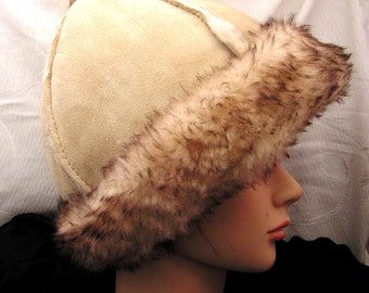 Vintage Sheep Skin and Wool Hat Small SIze