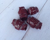 Set of 4 handmade wine colour tube beads..