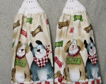 Two Dogs With Dog Bones Hanging Hand Towels Set of 2
