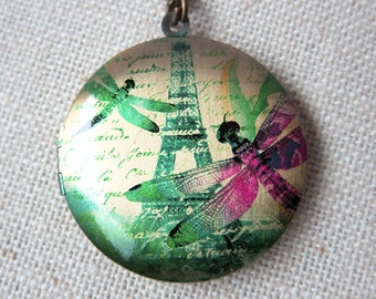 Dragonfly and Eiffel Tower Necklace - Paris Vintage Brass Photo Locket  (R3B)