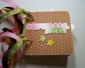 Softball Mini Scrapbook Album, Softball Scrapbook, Softball Mini Album, Softball Photo Album, Softball Brag Book, Softball Album