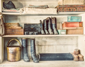Boots and Things, On the shelves of the Old General Store, 19th Century, Antiques, Vintage, Old Things from the Past, Photography Print