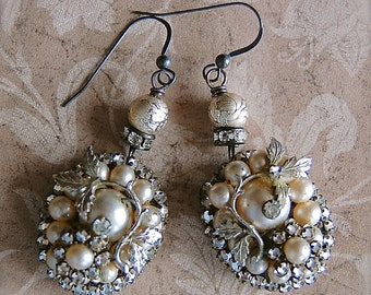 Blissful-Antique Vintage Pearl and Rhinestone Cluster Wedding Assemblage Earrings