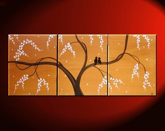 Love Birds Painting Ochre Beige Art Tree Painting Abstract Textured Art 48x20 Triptych CUSTOM