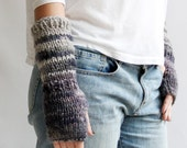 hand knit mittens STORM fingerless wool multicolor dark purple green grey blue ombre