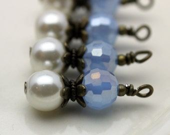Vintage Style Baby Blue Multifaceted Round Crystals and White Pearl Bead Dangle Drop Set