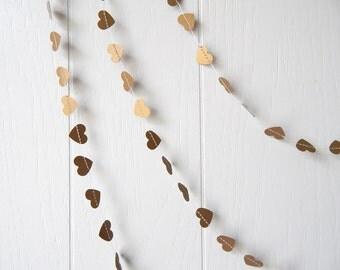 Gold Heart Bunting / Mini Heart Garland