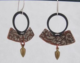 Printed copper mixed metal dangle talismanic Arc-Angel earrings