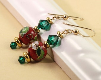 Holiday Jewelry Earrings Red Green Gold Cloisonne Beads Floral Christmas Fashion