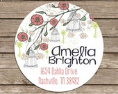 Bird Cage in Tree-- address or name or party stickers--choose size--choose glossy or matte