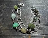 Sterling and green semi-precious stones bracelet