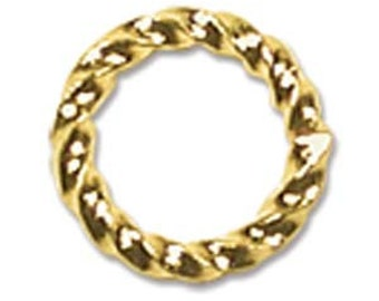 Twisted Jump Rings 8mm, 1 Gross (144), Gold Plated, Saw Cut JR05GP