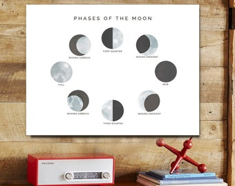 moon phases children's art print 8x10