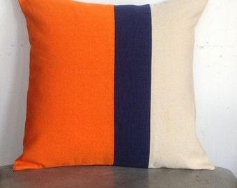 great gift ideas for herHome decor, Orange Pillow Cover, Navy Pillows, Custom Color Block Pillows, Gifts, Home Decor