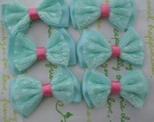 New item Lacey Satin double layered bows 6pcs Pastel teal  40mm x 24mm