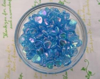 New item Tiny Shiny Heart beads 50pcs 9mm AB Blue