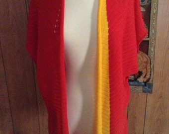 Waterfall Sweater Jacket Red and Gold OOAK