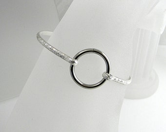 Better Part of Valor no 4 Sterling Silver Slave Cuff with stainless steel segment clasp