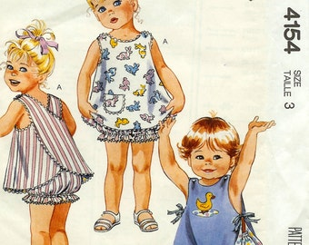 Sundress-BloomersToddlers Reversible & Applique Pattern-Uncut-McCalls Size 3