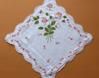 Vintage Handkerchief with Floral Design