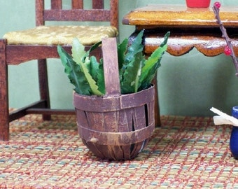 Fern Basket Green House Plant 1:12 Dollhouse Miniatures Scale Artisan