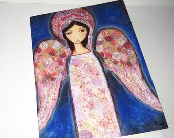 Angel en Rosa - Greeting Card 5 x 7 inches - Folk Art By FLOR LARIOS