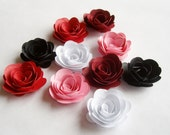 10 Parisian Nights rolled rosette flowers, wedding decoration,scrapbook decoration,table decoration, rosette,small flowers,embellishment