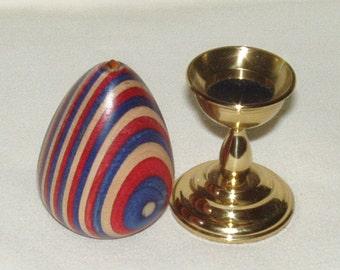 Wooden Egg, Dymondwood  w Brass Stand