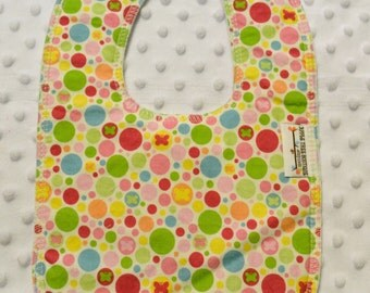 Snug Circles Drooler Bib - Snap - Non wicking fleece back - Middle layer Organic cotton - Personalized Embroidered or Plain