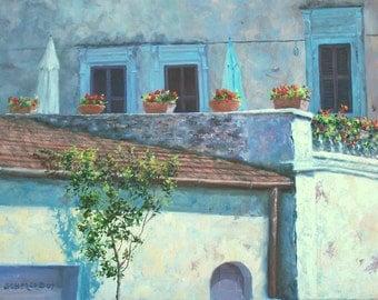Howard Scherer ORIGINAL oil painting 'Under the Tuscan Sun' 18 x 24 Italian architecture FRAMED