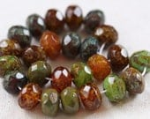 last ones .. RUSTIC EARTH No. 2 .. 10 Picasso Glass Czech Rondelle Beads 6x9mm (4123)