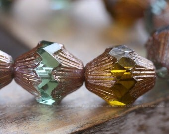 sale .. LOVE MIX .. 6 Premium Picasso Czech Glass Baroque Bicone Beads 13x11mm (4050-6)
