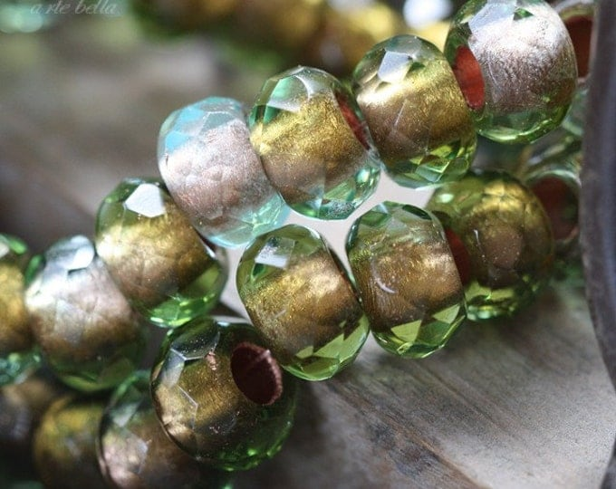 LUSH MEADOW No. 2 .. 6 Premium Czech Glass Large Hole Rondelle Beads 8x12mm (3728-6)