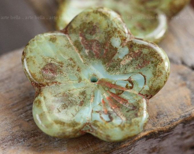 MOSSY SKY BLOOMS .. 2 Picasso Glass Czech Chunky Flower Beads 23mm (3981-2)