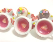 Heart Tea Cup Ring, Miniature Food Ring, Polymer Clay Food Jewelry Strawberry