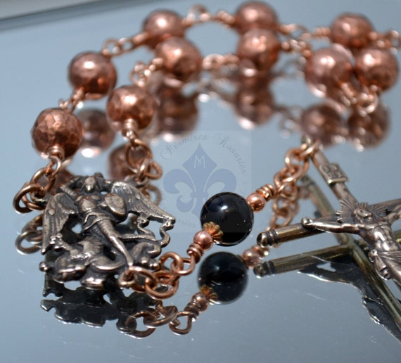 Hand Forged Solid Copper and Bronze St. Michael Pocket Rosary