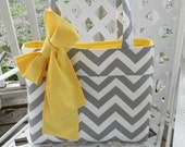 Gray Chevron Bridesmaids Tote Bag with Sash Bow  -   Contrasting Solid Fabric Color of Your Choice