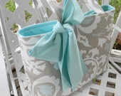 Gray  and Aqua Blue Tote Bag, Every Day Bag, Diaper Bag with  Aqua Blue Sash Bow