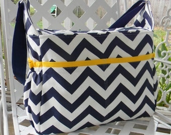 Extra Large Diaper Bag  with Top Zipper Closure in Navy Blue Chevron