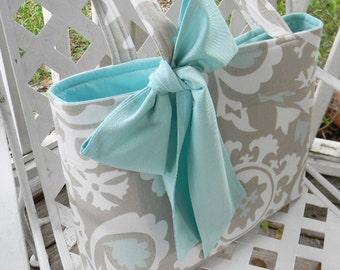 Gray  and Aqua Blue Tote Bag, Every Day Bag, Diaper Bag with  Aqua Blue Sash Bow