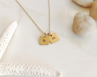 Tiny Squares Initials in Gold - Two Hand Stamped Charms