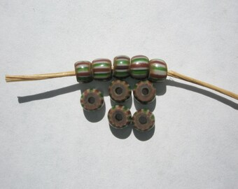 Antique Striped Pony Trade Beads, Brick/White/Green - 5mm - 10