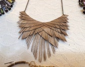 Smoky Gold Leather Fringe Necklace
