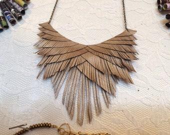 Smoky Gold Leather Fringe Necklace