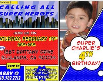 Comic Book Super Hero Party Invitation DIY Printable OR Printed Card