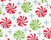 """44"""" Wide Peppermint Twist Peppermints White Fabric By the Yard Henry Glass"""