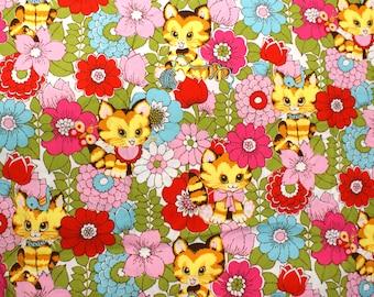 Alexander Henry Smitten Kittens Cotton Fabric 1 FQ - 1960s Inspired Bright Print Daisies
