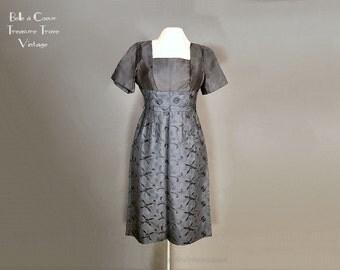 1960s Black Satin Party Dress Vintage Little Black Dress X Small