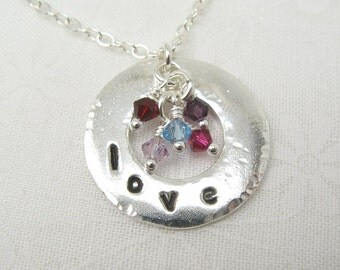 EMBRACE NECKLACE, sterling silver circle mother grandmother necklace with birthstone crystals